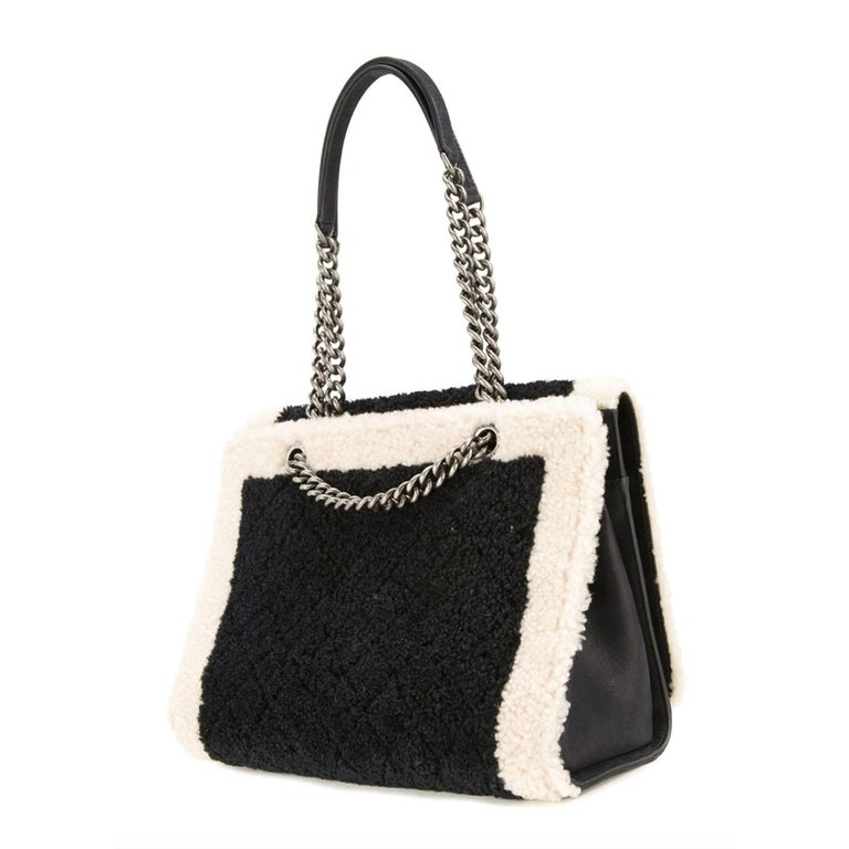 Chanel Two Tone Black and Ivory Plush Shearling Large Boy Bag Shopping Tote  For Sale 4