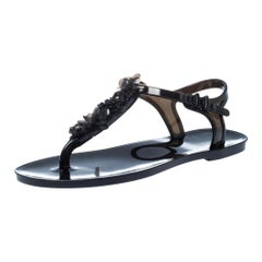 Chanel Black Jelly Camelia Thong Flat Sandals Size 36