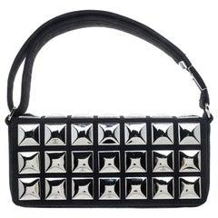 Chanel Black Jersey CC Pyramid Stud Flap Shoulder Bag