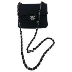 Chanel Black Jersey Cotton Mini Bag