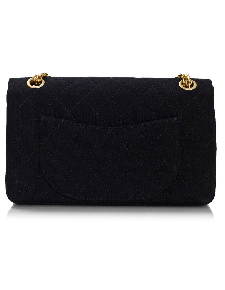 7bf4a8101b5233 Chanel Black Jersey Reissue 2.55 Reissue 225 Double Flap Bag with Box In  Excellent Condition For