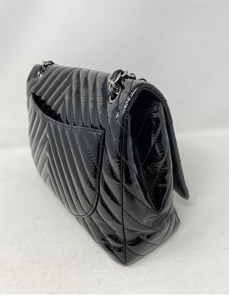 Chanel Black Jumbo Patent Leather Bag For Sale 6