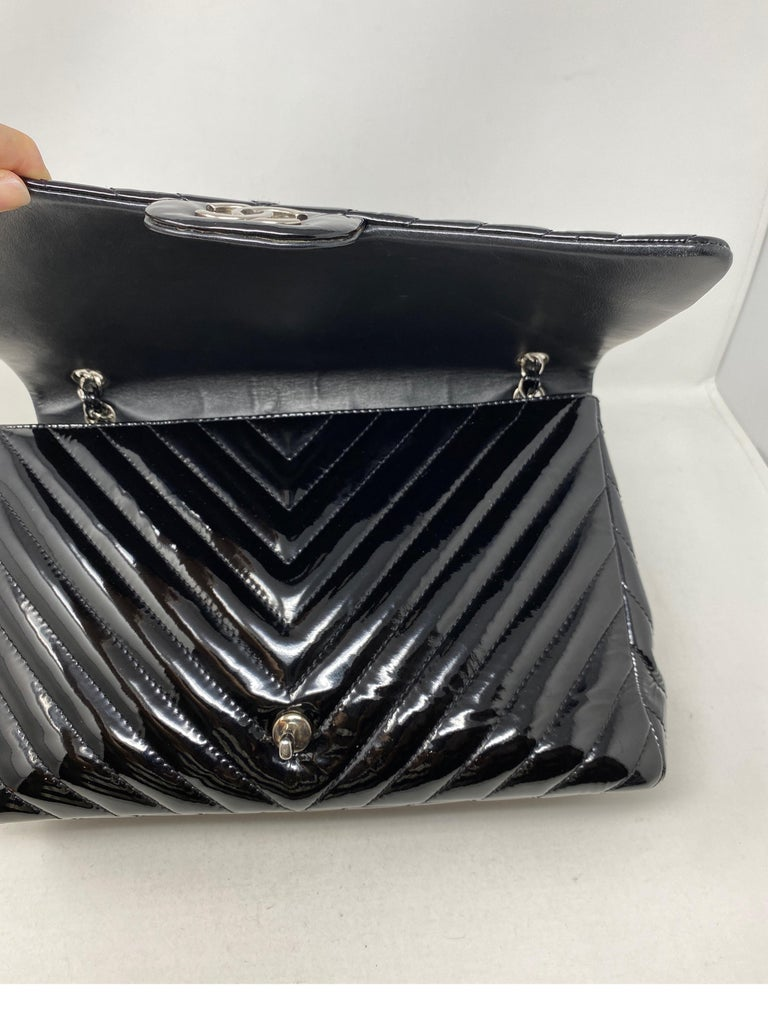 Chanel Black Jumbo Patent Leather Bag For Sale 8