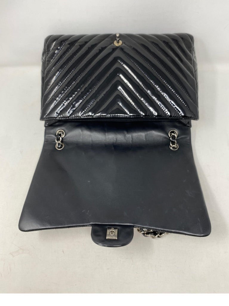 Chanel Black Jumbo Patent Leather Bag For Sale 9