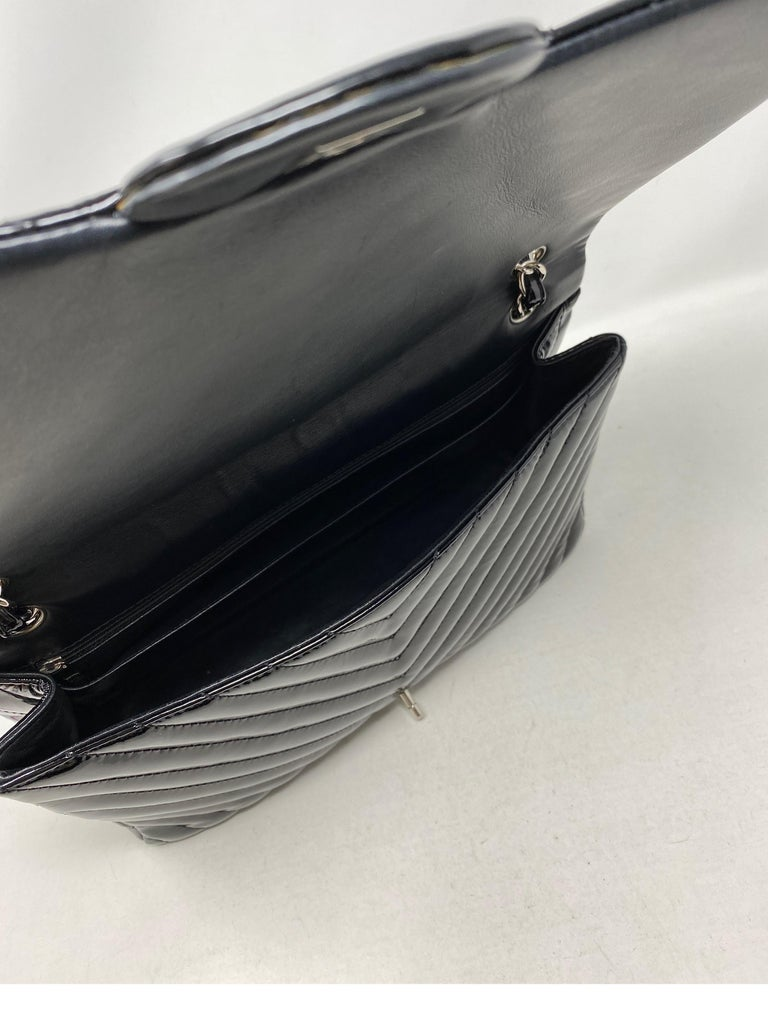 Chanel Black Jumbo Patent Leather Bag For Sale 11