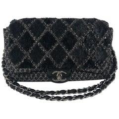 Chanel Black Jumbo Tweed Bag