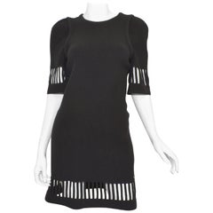 Chanel 2017 Black Wool Knit Dress Sz 36