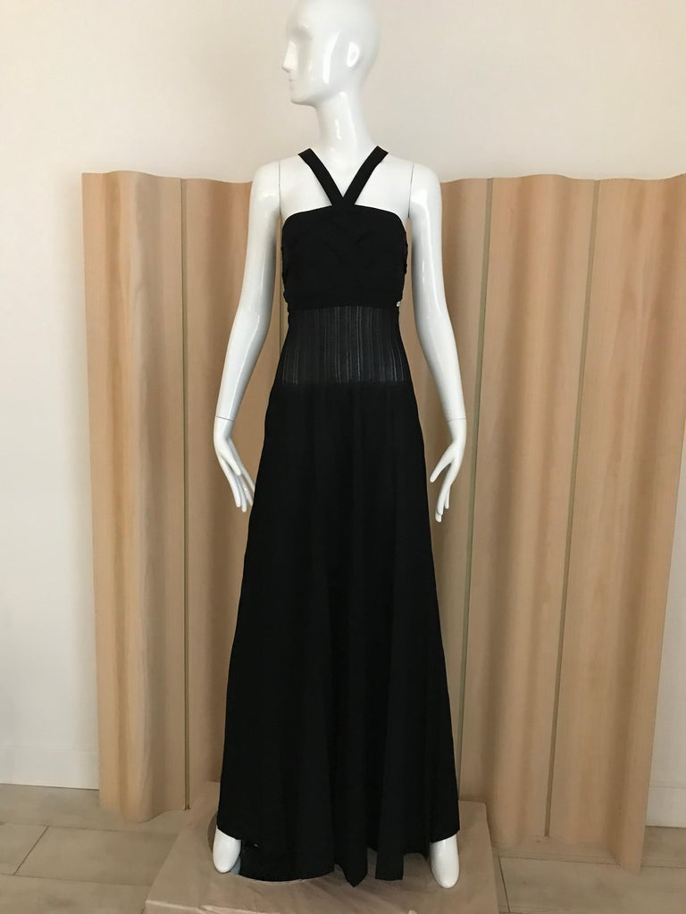 Chanel Black Knit Maxi Dress In Excellent Condition For Sale In Beverly Hills, CA