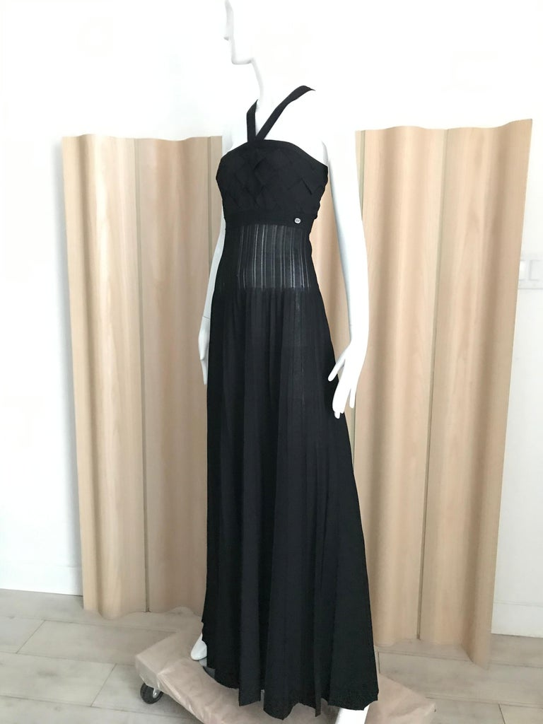 Women's  Chanel Black Knit Maxi Dress For Sale