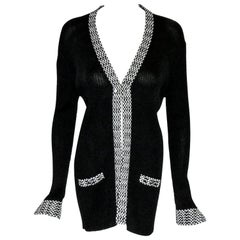 Chanel Black Knit Open Front Jacket W/ Black & White Crochet Trim