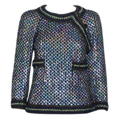 Chanel Black Knit Sequin Embellished Jacket M