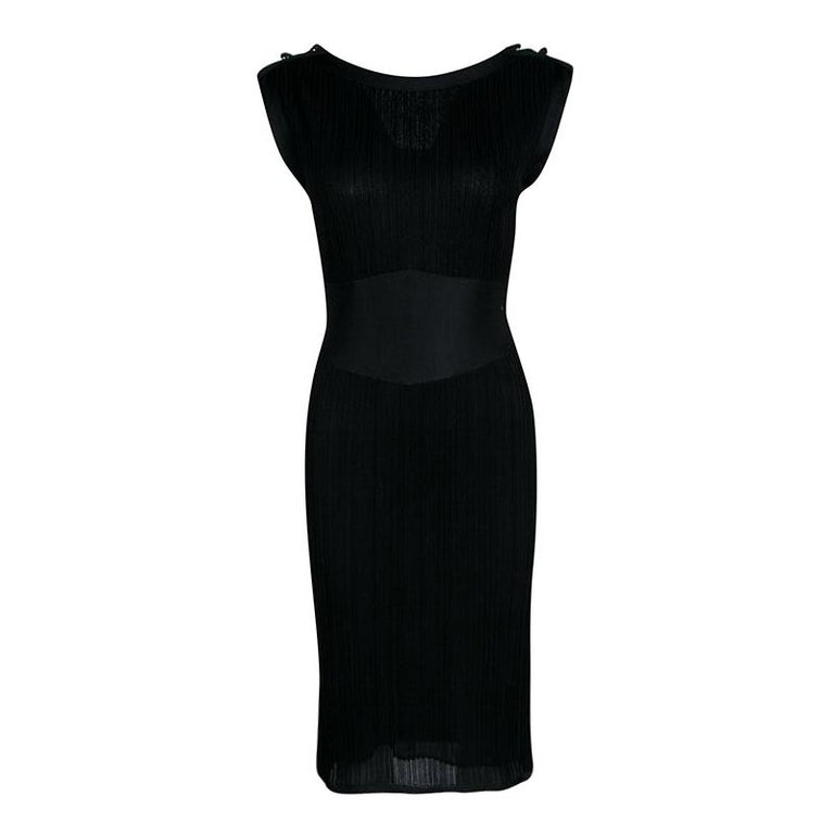 Chanel Black Knit Shoulder Button Detail Sleeveless Dress M For Sale