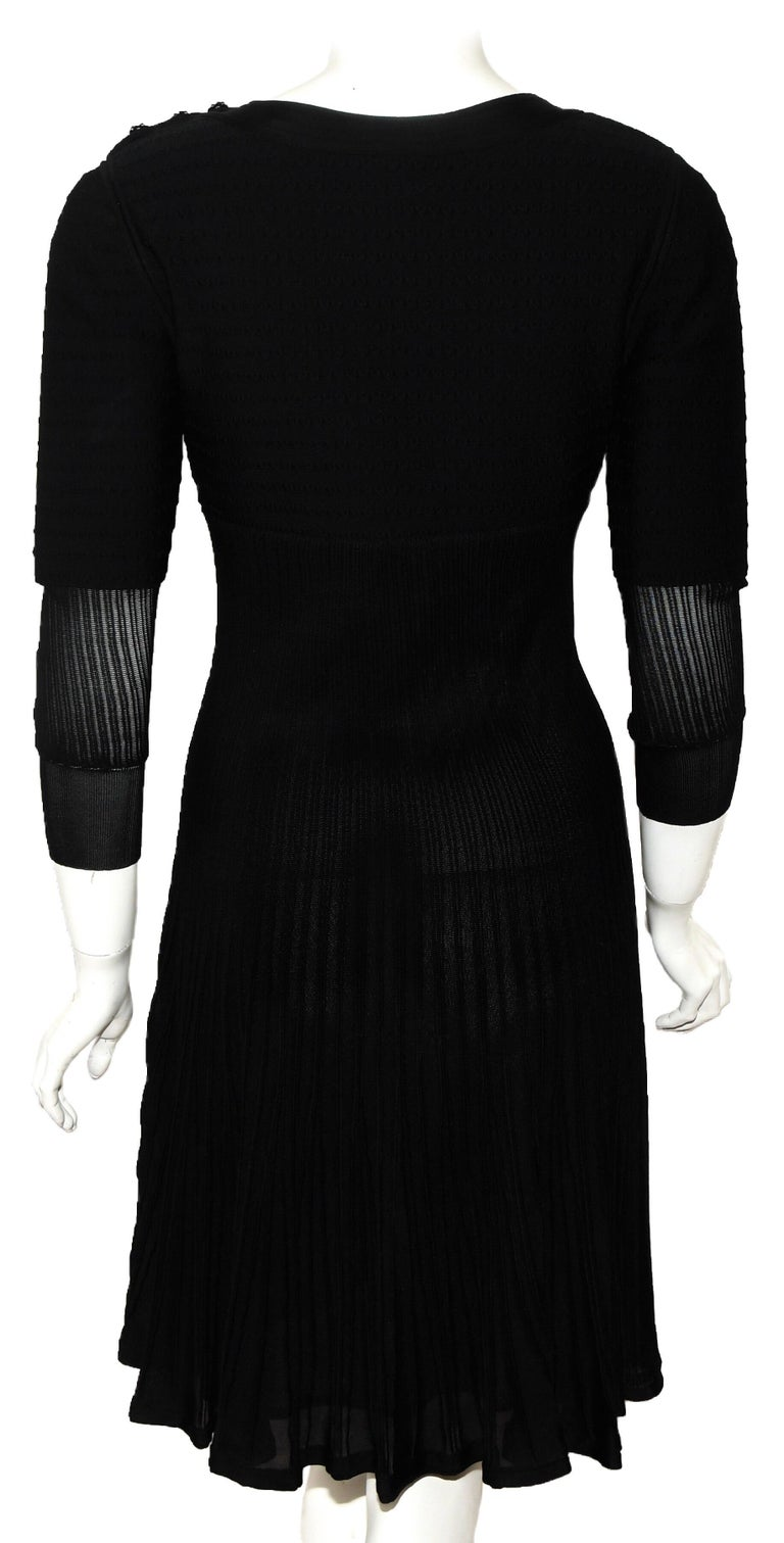 Chanel Black Knit Silk Blend Pleated Long Sleeve Dress 2009 Cruise Collection In Excellent Condition For Sale In Palm Beach, FL
