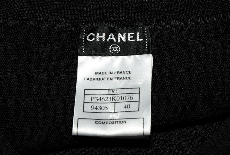 Chanel Black Knit Silk Blend Pleated Long Sleeve Dress 2009 Cruise Collection For Sale 1