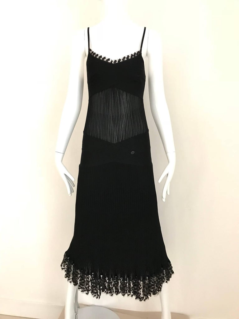 CHANEL Black Knit Spaghetti Strap Cocktail Dress For Sale 3