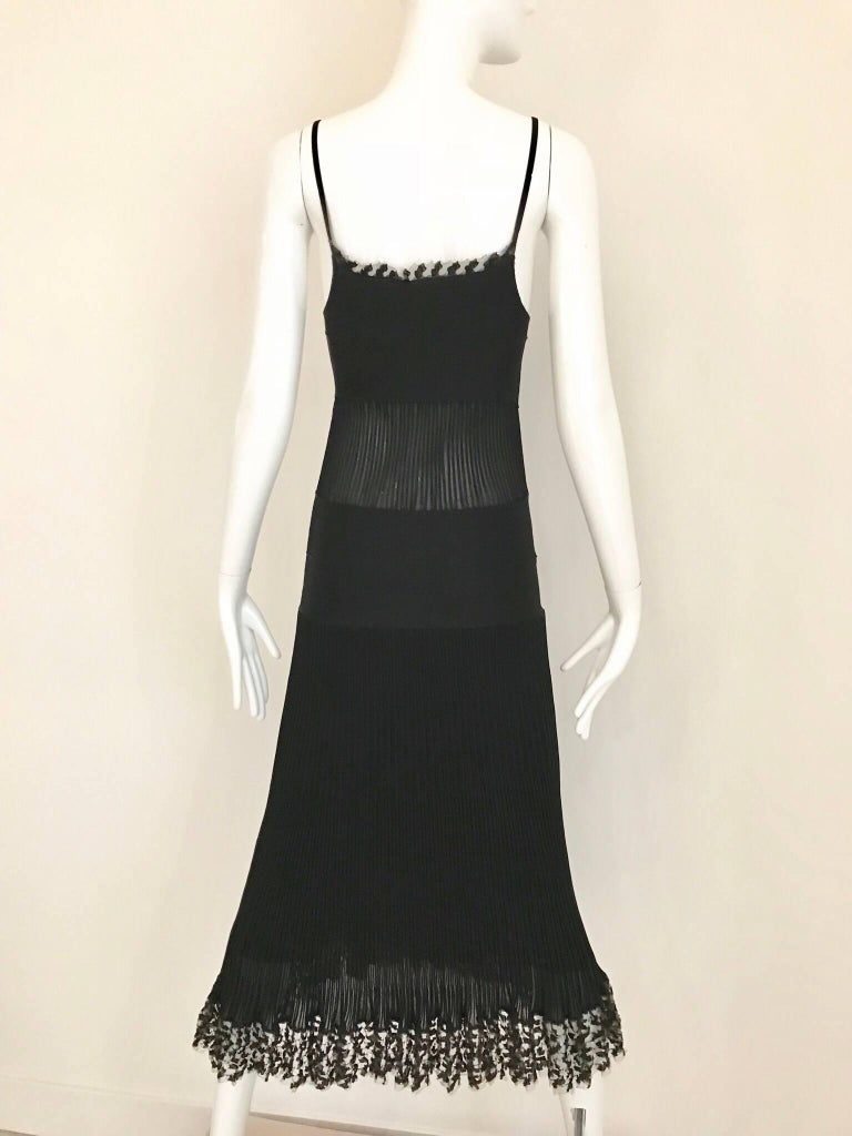 CHANEL Black Knit Spaghetti Strap Cocktail Dress For Sale 4