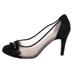Chanel Black Lace And Mesh Embellished Pumps Size 40