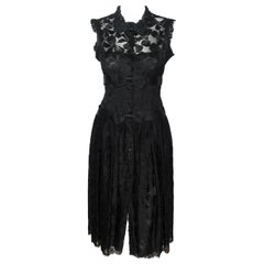 Chanel Black Lace Evening Dress 2005 Fall Season With Button Down Front Closure
