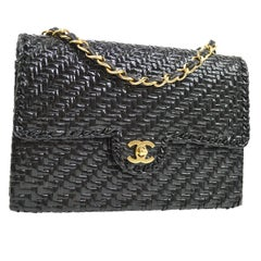 Chanel Black Lacquered Wicker Medium Gold Evening Shoulder Flap Bag in Box
