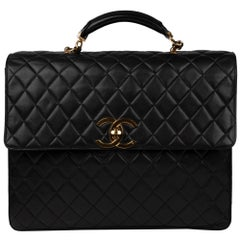 Chanel Black Lamb Skin Leather Briefcase