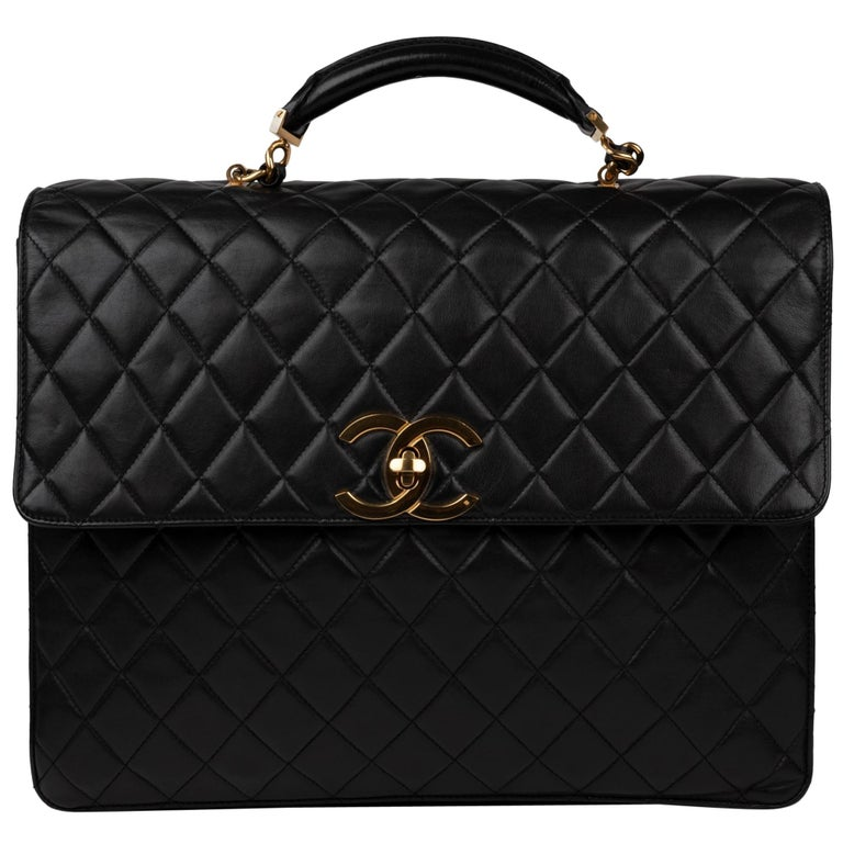 26b467fc899c2 Chanel Black Lamb Skin Leather Briefcase For Sale at 1stdibs