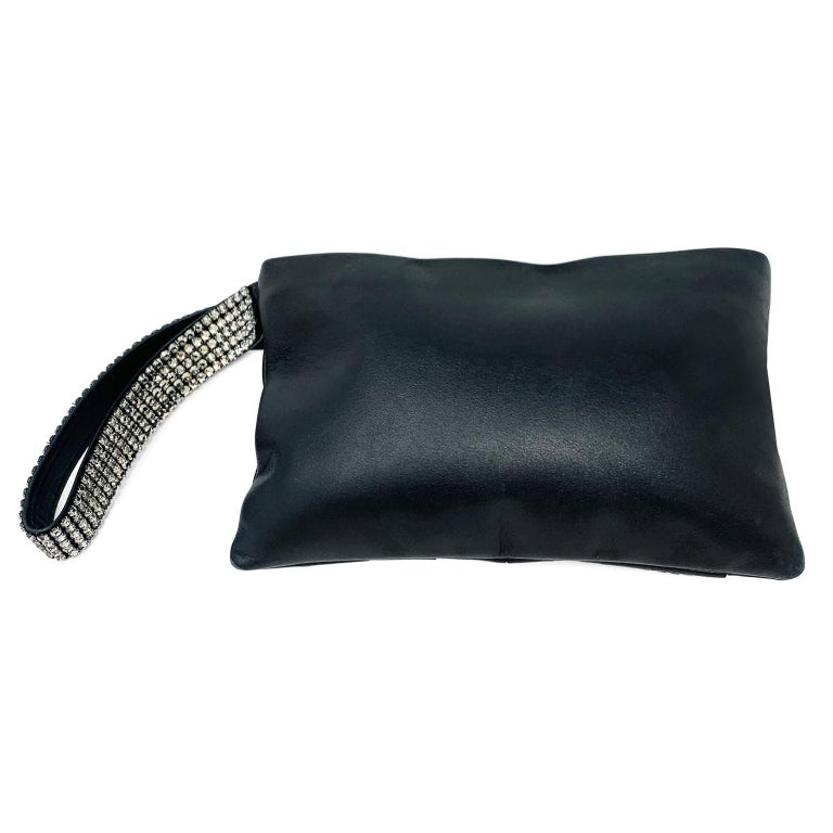 Chanel Black Lambskin and Swarovski Crystal Wristlet In Excellent Condition For Sale In Palm Beach, FL