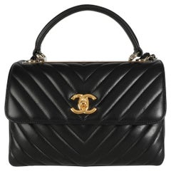 Chanel Black Lambskin Chevron Quilted Trendy CC Top Handle Flap Bag