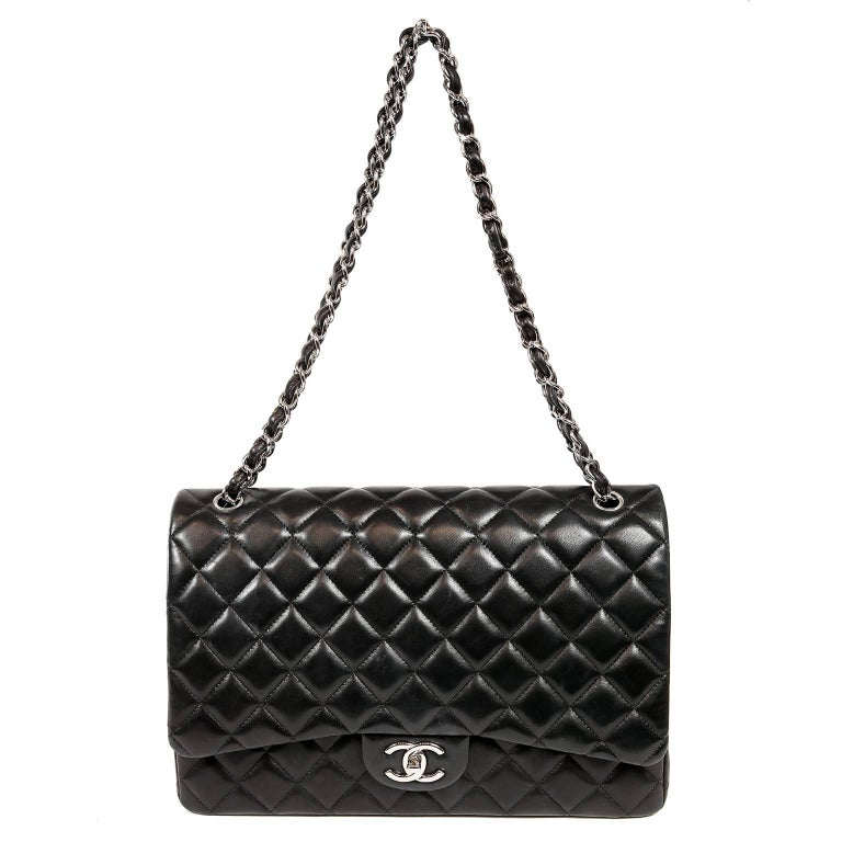 de66e777ea0b Chanel Black Lambskin Classic Maxi Double Flap Bag with Silver Hardware For  Sale 11