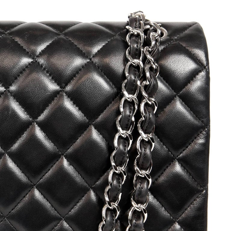 b32112a73ad9 Chanel Black Lambskin Classic Maxi Double Flap Bag with Silver Hardware For  Sale 2