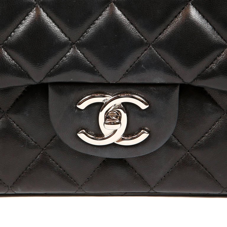 779d49c22f70 Chanel Black Lambskin Classic Maxi Double Flap Bag with Silver Hardware For  Sale 4