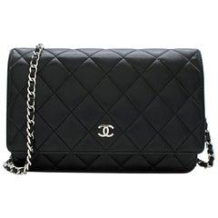 Chanel Black Lambskin Classic Wallet on Chain