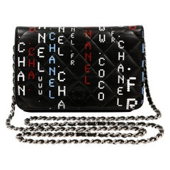 Chanel Black Lambskin Data Center Wallet on a Chain