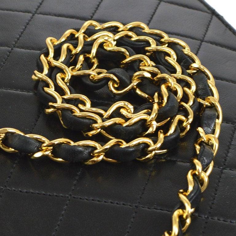 Chanel Vintage Black Lambskin Dual Turnlock Top Handle Satchel Shoulder Flap Bag  Lambskin Gold tone hardware Dual turnlock closure Made in France Handle drop 3