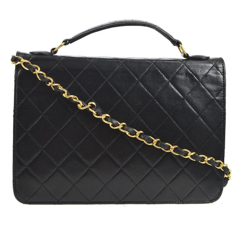 Chanel Black Lambskin Dual Turnlock Top Handle Satchel Shoulder Flap Bag In Excellent Condition For Sale In Chicago, IL