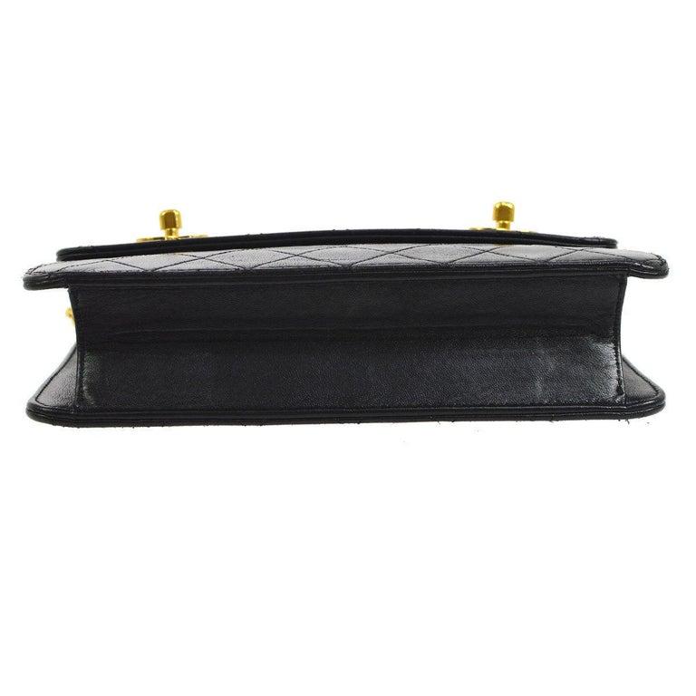 Women's Chanel Black Lambskin Dual Turnlock Top Handle Satchel Shoulder Flap Bag For Sale