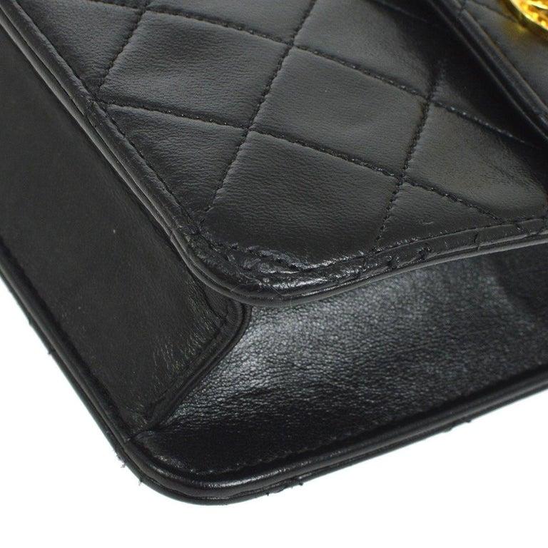 Chanel Black Lambskin Dual Turnlock Top Handle Satchel Shoulder Flap Bag For Sale 1