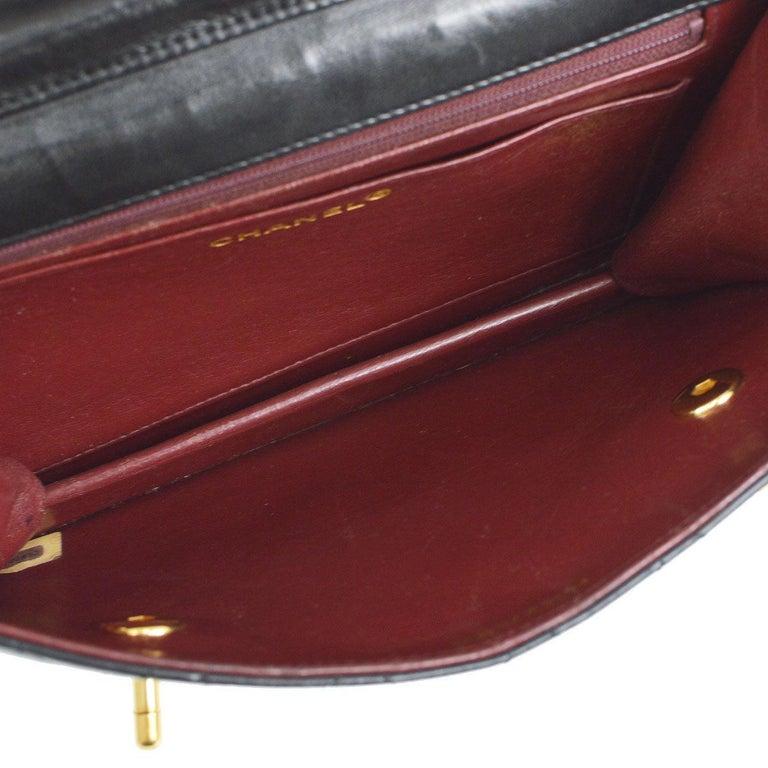 Chanel Black Lambskin Dual Turnlock Top Handle Satchel Shoulder Flap Bag For Sale 2