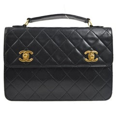 Chanel Black Lambskin Dual Turnlock Top Handle Satchel Shoulder Flap Bag