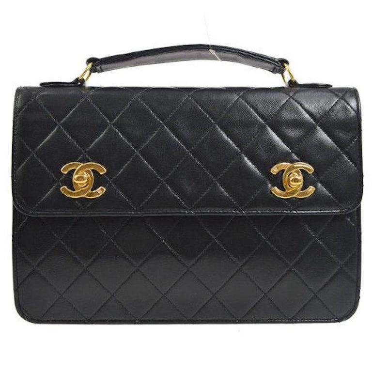 Chanel Black Lambskin Dual Turnlock Top Handle Satchel Shoulder Flap Bag For Sale