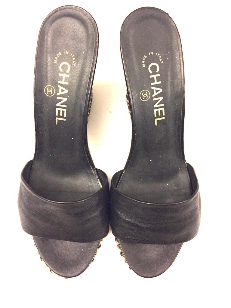 - Chanel black lambskin gold chain open toe platform sandals.   - Size 39.