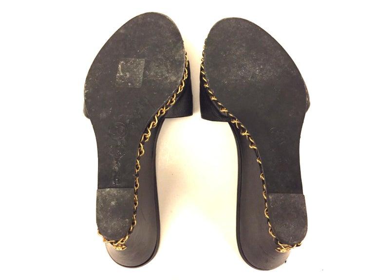 Chanel black lambskin gold chain open toe platform sandals u For Sale 1