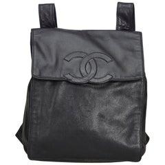 Chanel Black Lambskin Leather Backpack