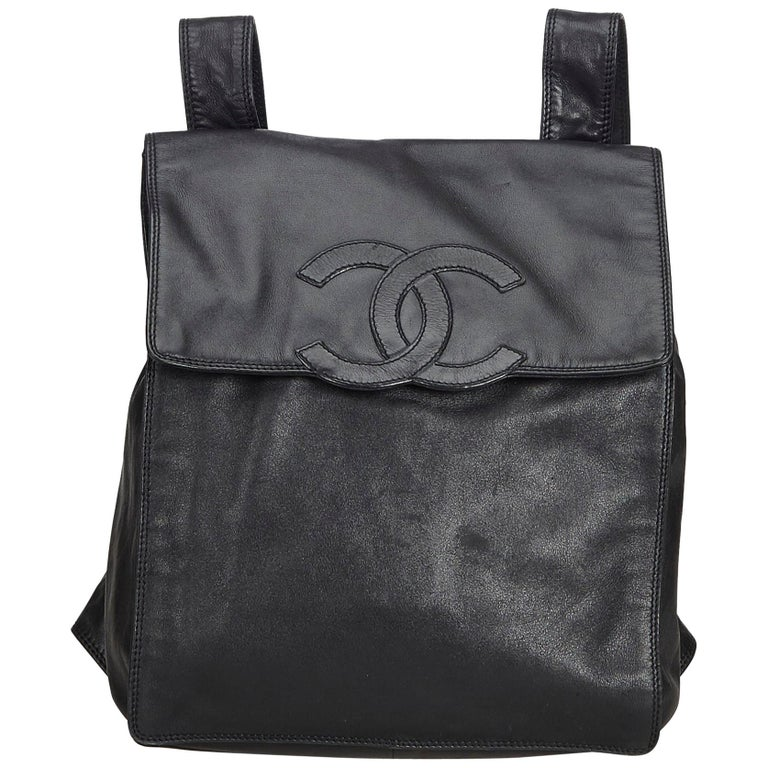 3aa594fbed19 Chanel Black Lambskin Leather Backpack at 1stdibs