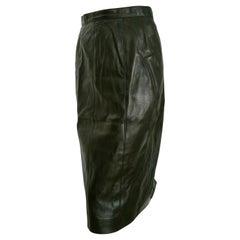 CHANEL Black Lambskin Leather, Buttons, Silk lined Skirt - Unworn, New