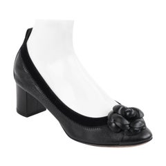 CHANEL Black Lambskin Leather Camellia Rosette Velvet Trim Ballet Pump Heels
