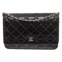 Chanel Black Lambskin Leather Classic WOC Wallet On Chain Bag