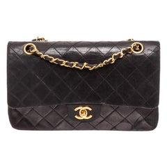 Chanel Black Lambskin Leather Double Flap Shoulder Bag