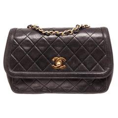 Chanel Black Lambskin Leather Flap Shoulder Bag