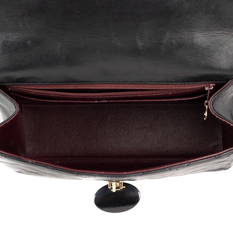 Handbag Chanel Black Lambskin Leather ! For Sale 5
