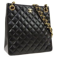 Chanel Black Lambskin Leather Gold Shopper Shoulder Carry All Bag